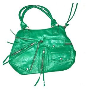 Handbags - Retro, Leather, Green Purse  W/Zippers